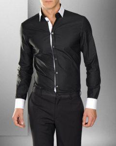 חולצה מכופתרת בצבע שחור