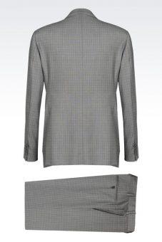 חליפה אפורה מעוצבת של חליפת חתן מעוצבת שחורה של Giorgio Armani מבט מלפנים מבט מאחור