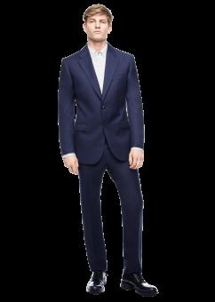 חליפת חתן בצבע כחול כהה מבית המותג Versace מבט מלפנים